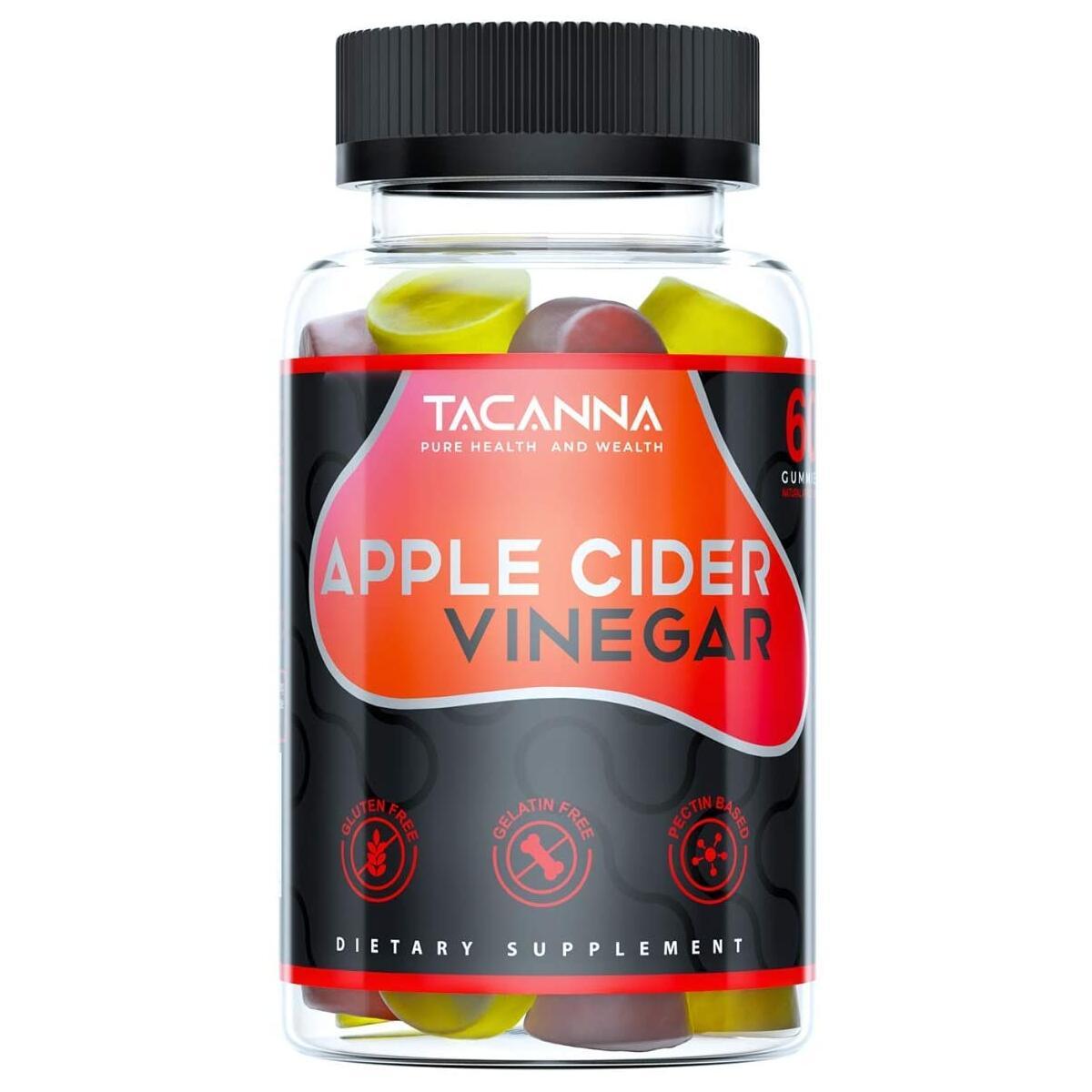 Tacanna Apple Cider Vinegar Gummies All-Natural - 60 Count, Gluten-Free, Non-GMO - Immunity, Weight, Gentle Colon Cleanse Women, Men, and Kids Immune Support