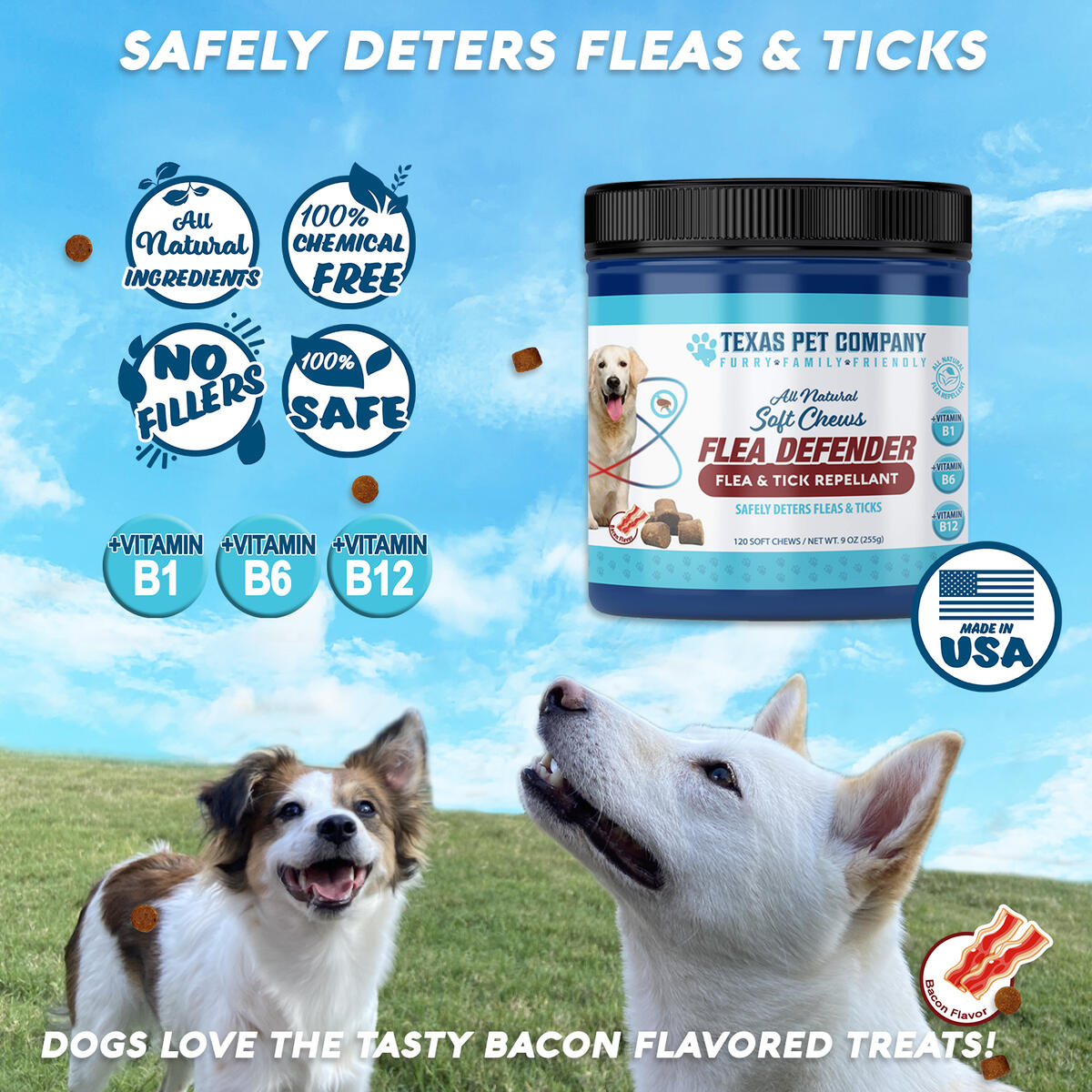 Texas Pet Company Flea and Tick Prevention for Dogs Flea Treatment All Natural Repellent Soft Chews for Dogs-Made in USA - Bacon Flavor 120 Ct 9oz