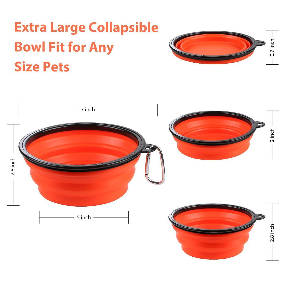 TIOVERY Collapsible Dog Bowl, Extra Large 36oz Foldable Dog Cat Water Food Bowl, Portable Pet Feeding Watering Dish Cup for Walking, Camping, Traveling, Hiking Pack of 2 and a Dog Training Clicker