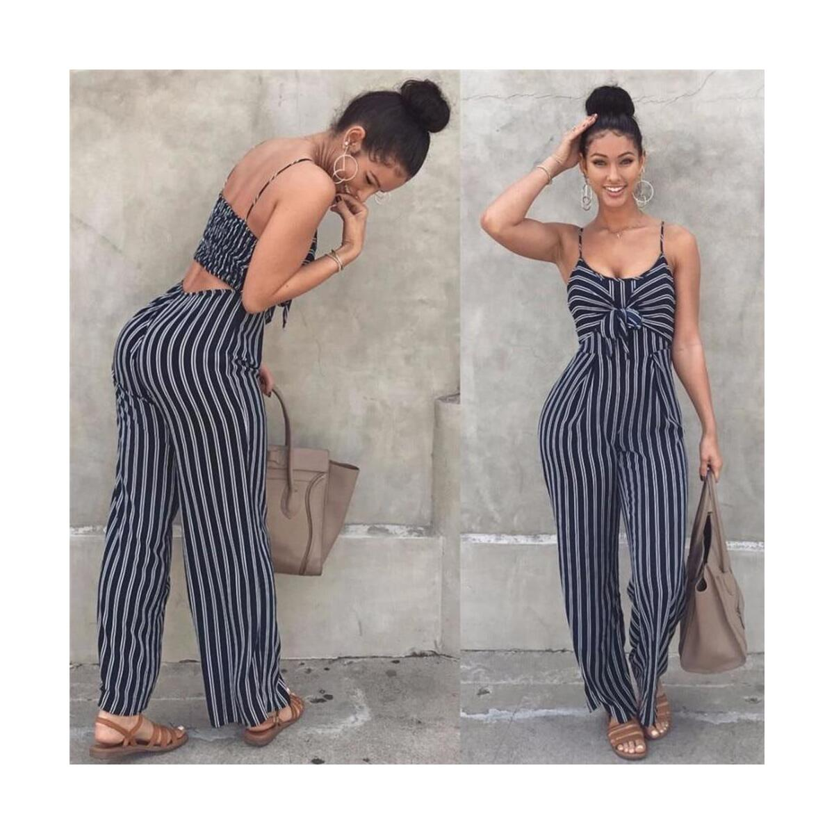Spaghetti Strap Sleeveless Wide Leg Long Pants Cut Out Back Striped Casual Jumpsuit Romper