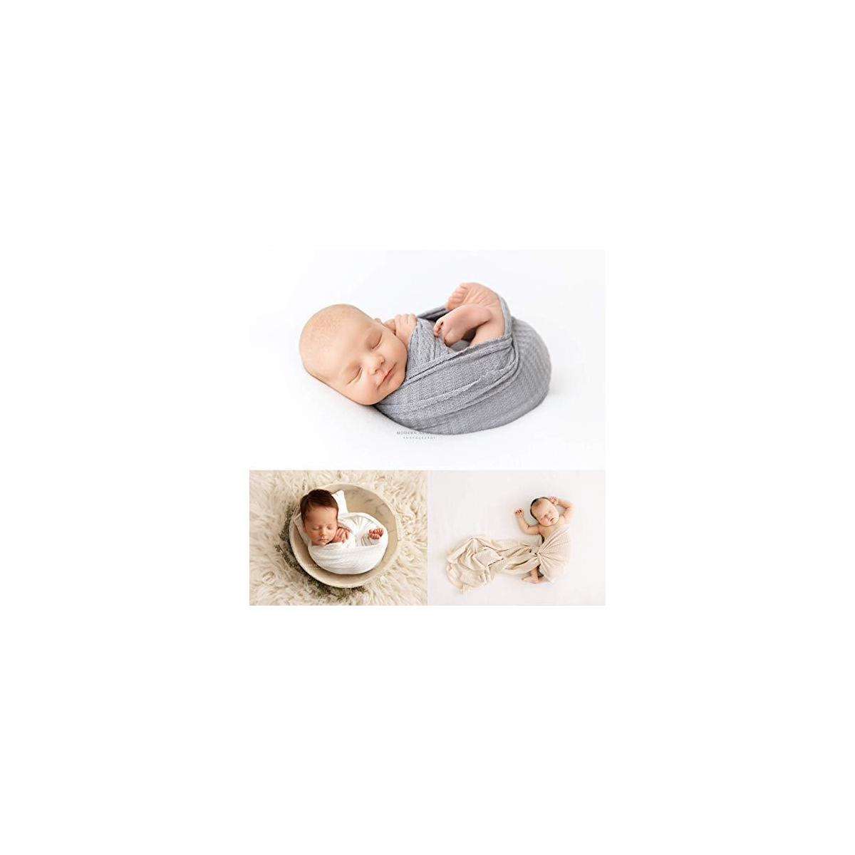 First Landings Baby Wrap | Set of 3 Premium Knit Wraps | Newborn Photography Props for Boy or Girl Photoshoot