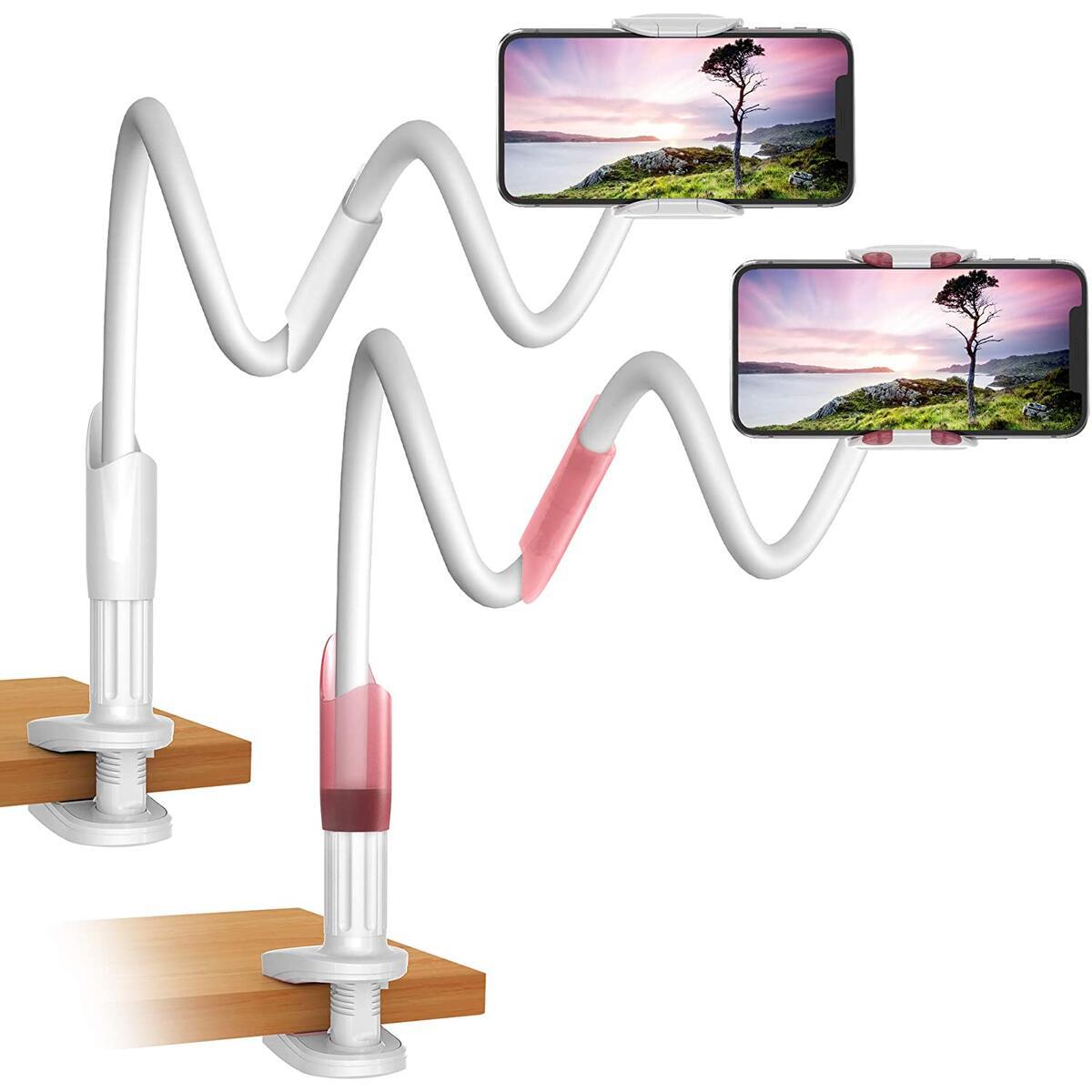 Gooseneck Phone & Tablet Holder for Desk, Night Stand, Headboard (2-Pack) - White/Pink