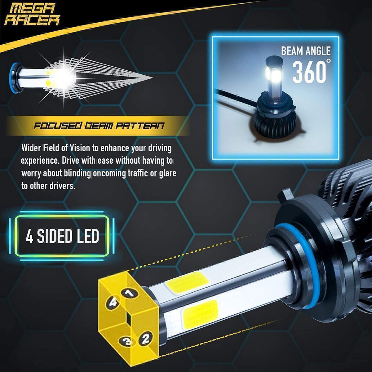 Mega Racer 4 Sided 9005/H10/HB3 LED Headlight Bulbs for High Beam/Low Beam/Fog Lights, 60W 6000K 10000 Lumens Super Bright White COB IP68 Waterproof, Pack of 2