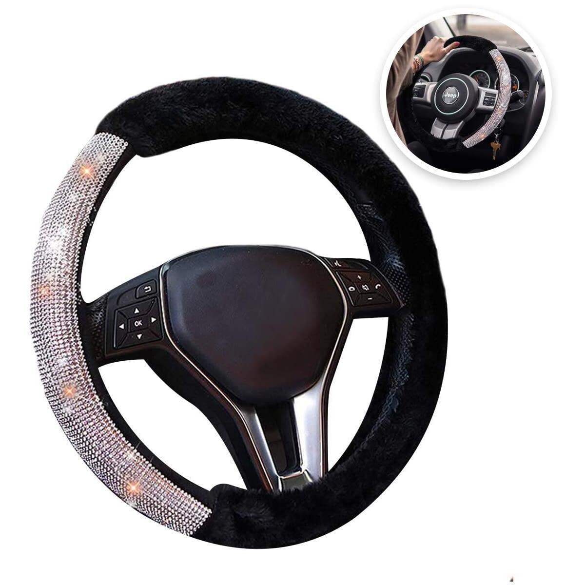 Bling and Plush Steering Wheel Cover - for Women, Diamond Bling Crystal Grade Imitation Cashmere Plush Texture, Premium Quality Wheel Cover, Anti-Slip, Zento Deals.
