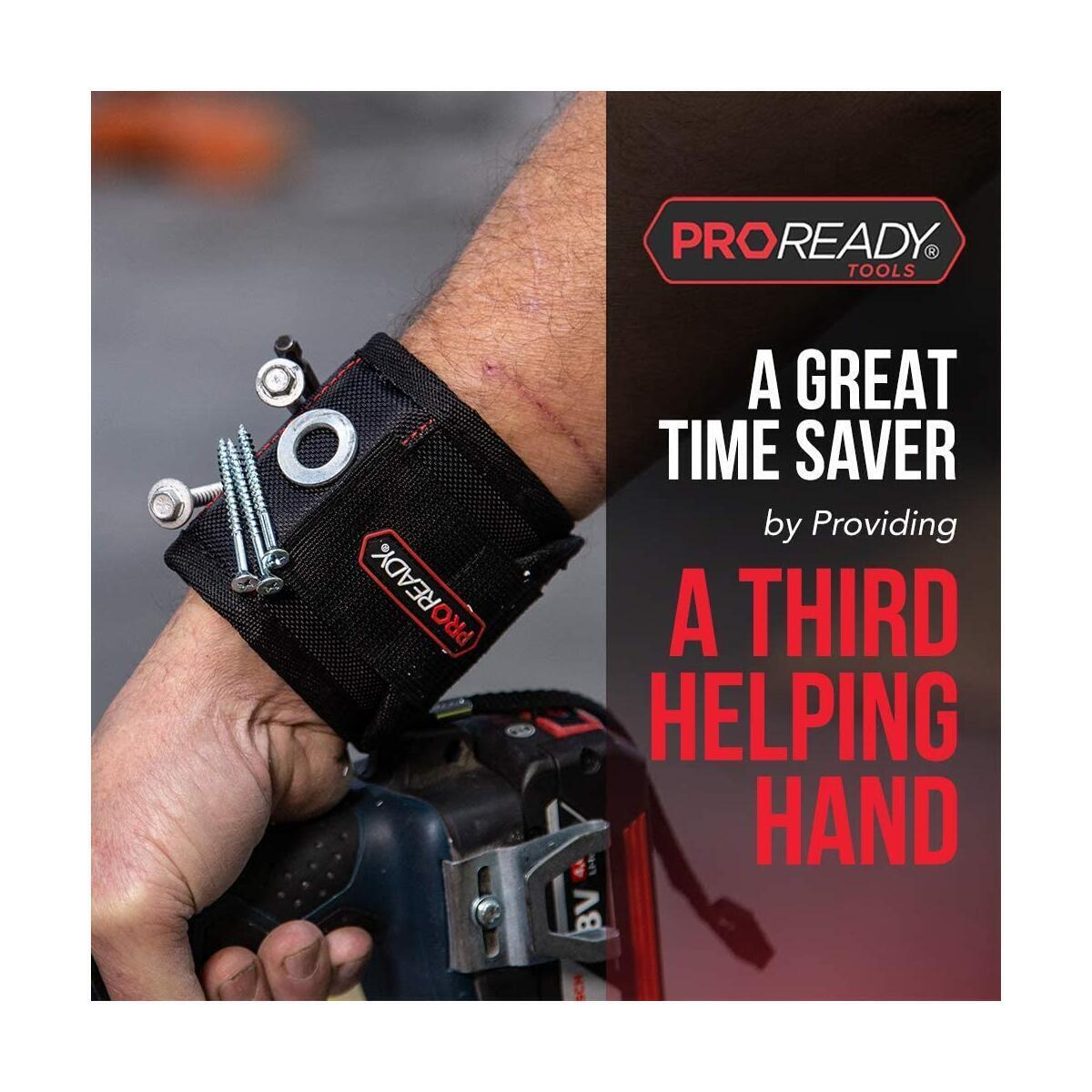 PROREADY Magnetic Wristband for Holding Screws - Wrist Band with Super Strong Magnets - Heavy Duty Adjustable hook and loop fastener - Wrist Magnet Holder For Nails and Drill Bits