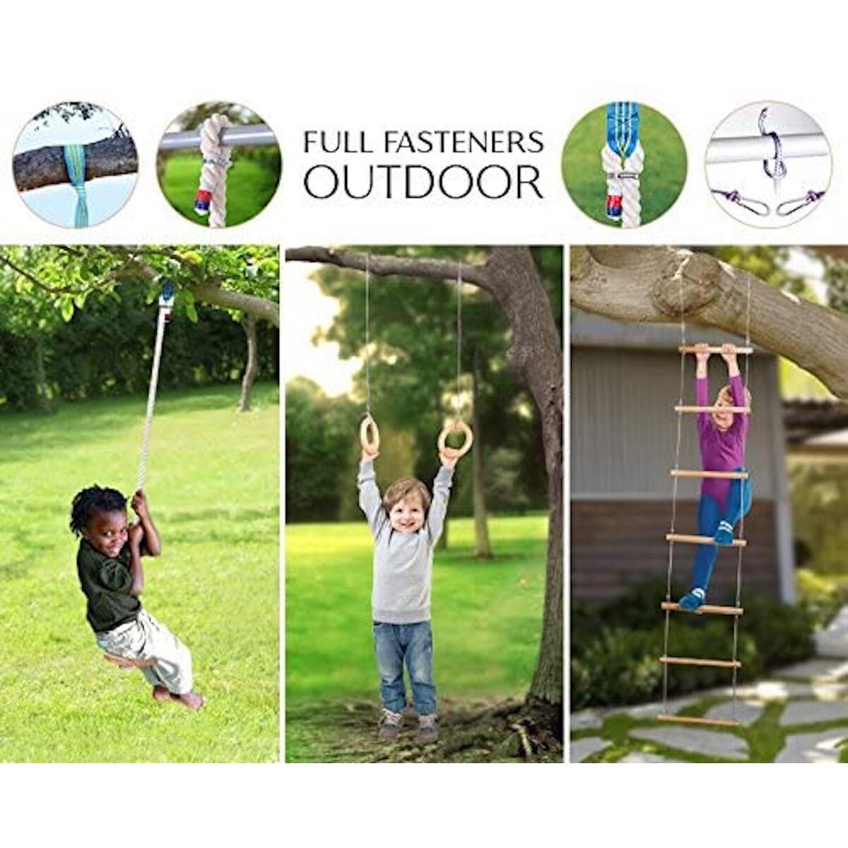 EVAS Kids gym play set – Gymnastics kit include swing, climbing ladder, gymnastics rings