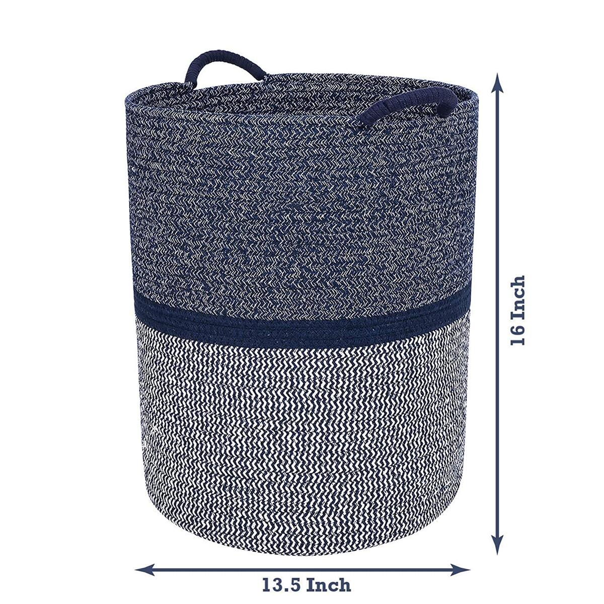 Premium Cotton Rope Basket for Laundry, Blanket, Towel, Nursery, Baby & Kids Toy Bin - Decorative Navy Blue & White Coiled Round Hamper with Handles - 16x13.5