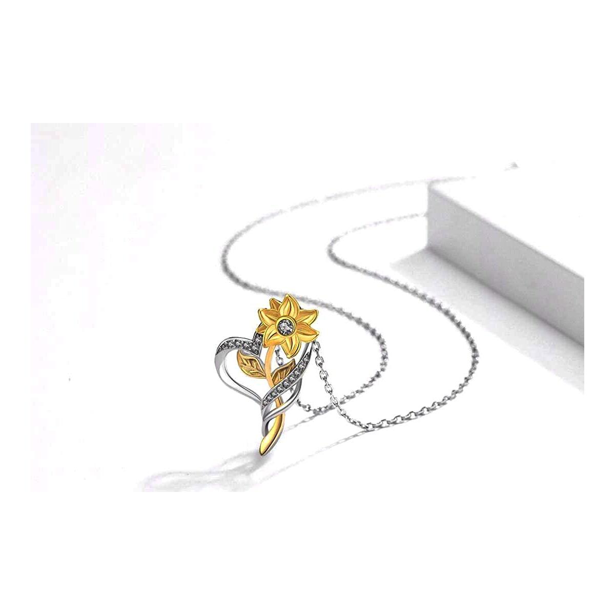 Quality Scape Women's Gorgeous Sunflower Pendant Necklace With Gift Box -- Yellow