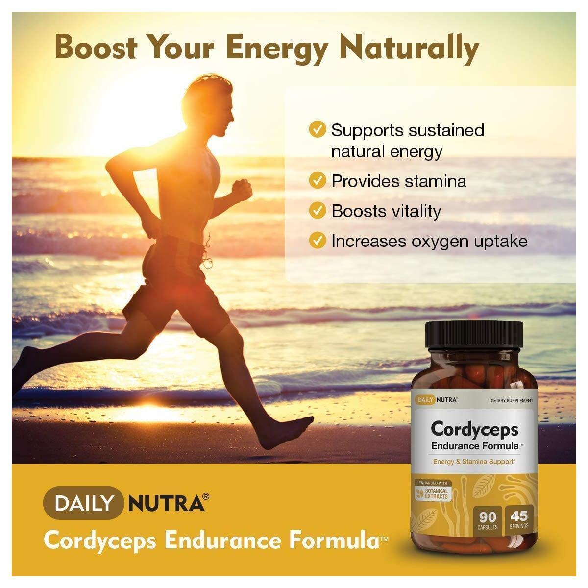 Cordyceps Endurance Formula by DailyNutra - Natural Energy Supplement - Caffeine Free | Organic Mushroom Extract with KSM-66 Ashwagandha, Eleuthero and Rhodiola