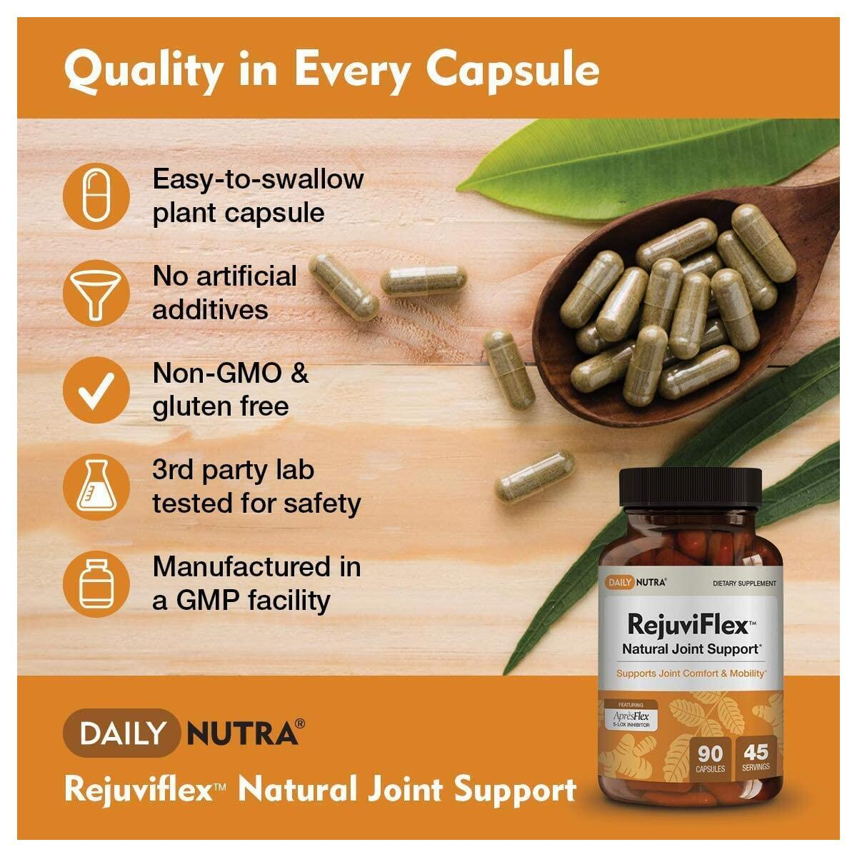 RejuviFlex by DailyNutra - Natural Joint Supplement for Men & Women - Supports Joint and Knee Pain Relief | Featuring ApresFlex Boswellia Extract, Turmeric Curcumin and White Willow Bark (90 Capsules)