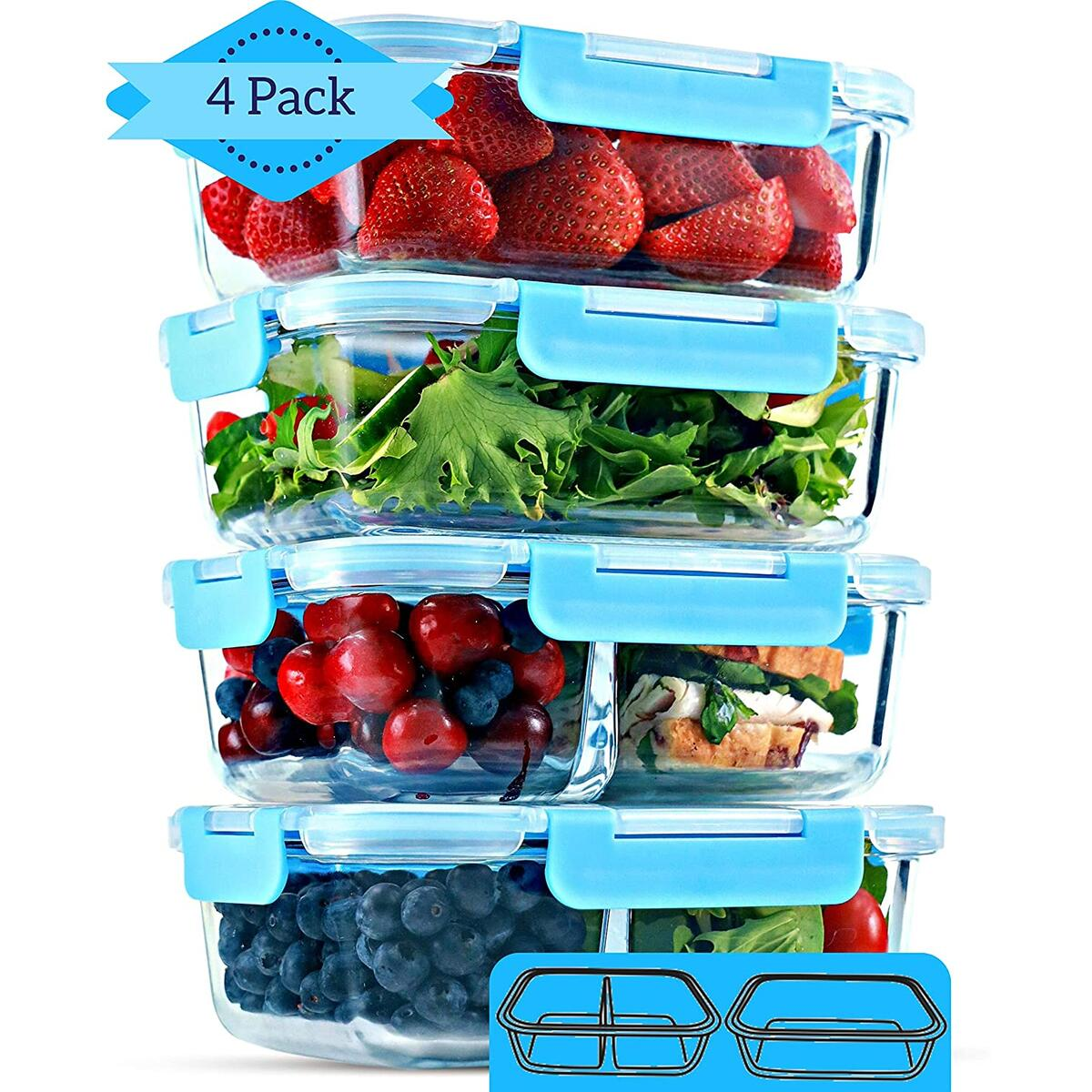 2 & 3 Compartment Glass Meal Prep Containers (4 Pack, 32 oz) - Glass Food Storage Containers with Lids
