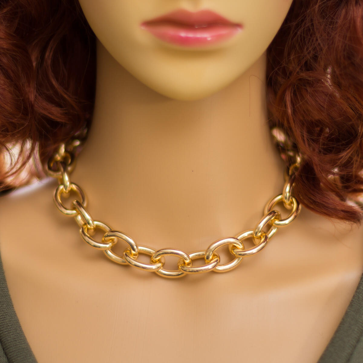 Chunky Chain Necklace - Thick Chain Necklace Choker Trendy Necklaces Cable Link Chain Choker Necklaces for Women Chunky Necklace Punk Metal Fashion Necklace for Girls Cuban Link Chain Choker (Gold)