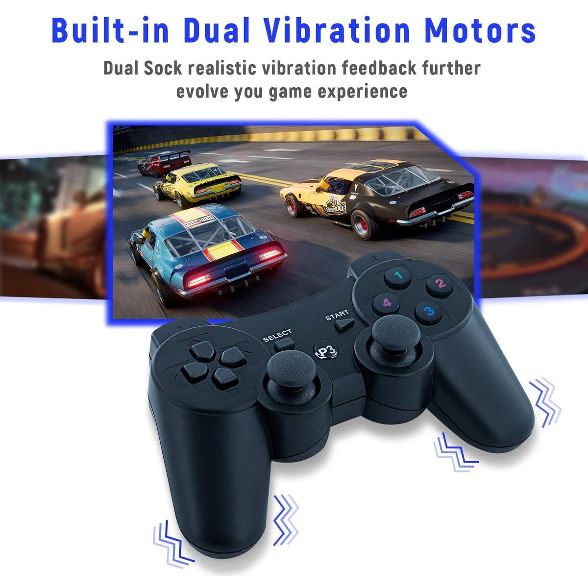 Mcbazel Wireless Double Shock Controller for PS3 PS3 Slim PS3 Super Slim Console with Charging Cable