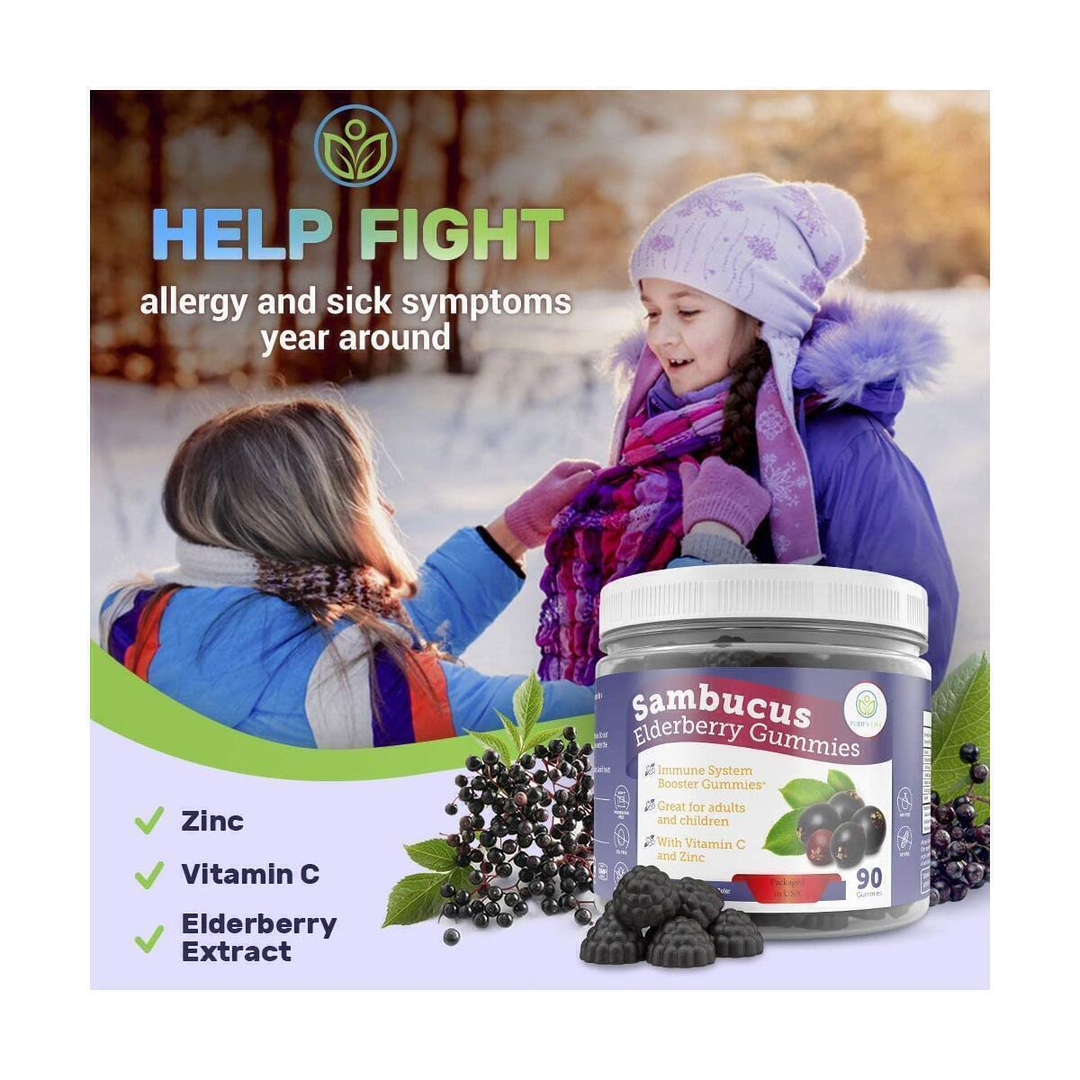Elderberry Gummies for Kids & Adults - 260mg Sambucus, Vitamin C and Zinc (90 Gummies) Immune System Support Booster - Allergy Cold Relief - Chewable Supplement - No Capsules, Pills, Tablets or Syrup