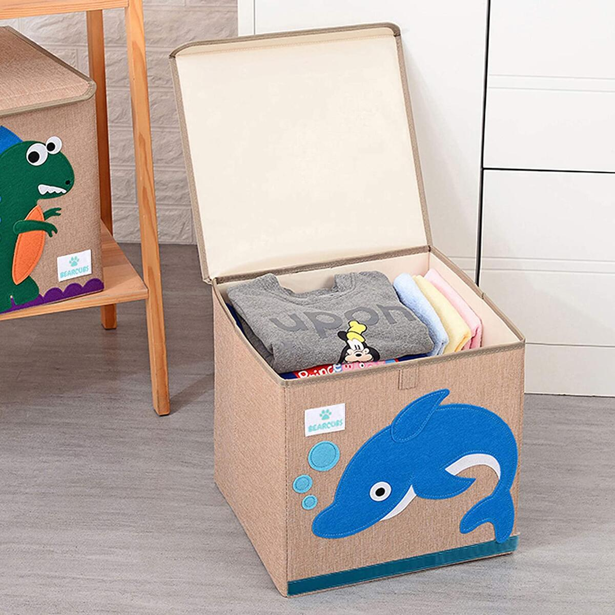 Bearcubs Small Toy Chest Foldable Stackable Storage and Organization Box for Kids - Nursery, Living Room, Playroom - Toy Bin with Lid - Designs for Boys and Girls (Dolphin)