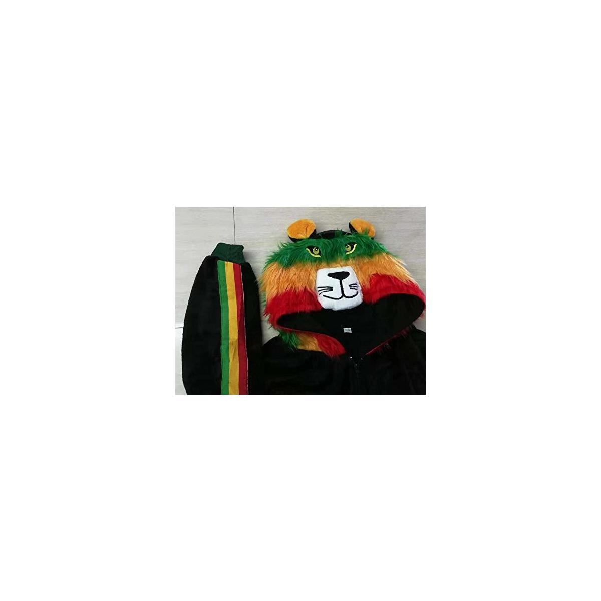 Jammies For Parties Animal Pajamas for Adult Unisex Cosplay Costume Plush One Piece (Rasta Lion, Regular 5ft to 6ft)