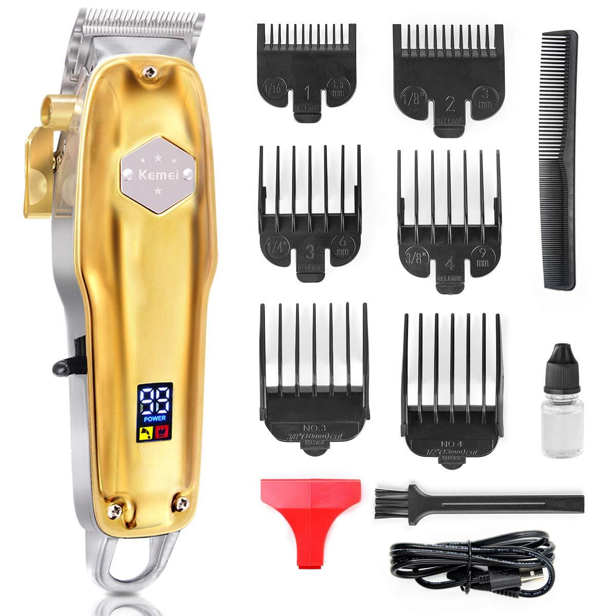 Professional Hair Clippers Rechargeable Cordless Barber Hair clippers Hair Cutting Grooming kit With Precision Carbon Steel Blade Fresh Fade Haircuts 6 Combs Clippers LED Display Haircut Kit