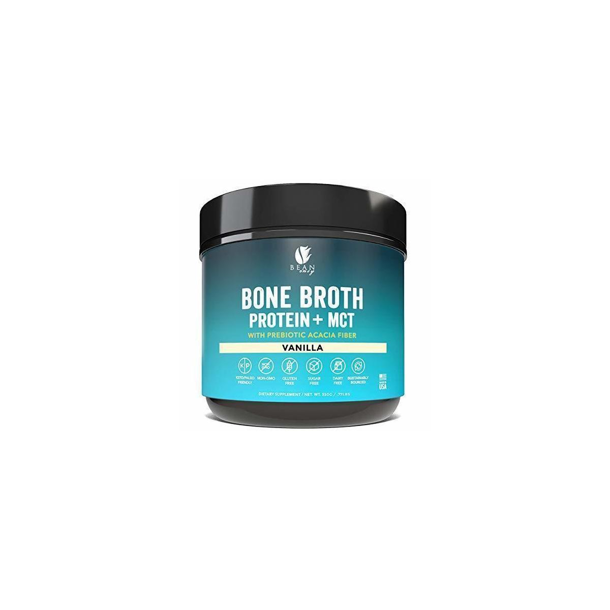 Bean Envy Bone Broth Protein Powder + MCT Oil + Prebiotic Acacia Fiber for Joint Protection, Better Digestion, Energy Boost, Weight Loss, and Sleep - Vanilla