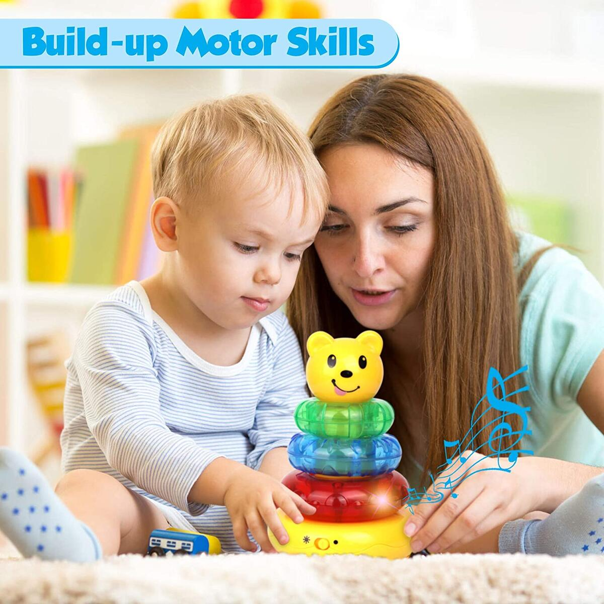 Playkidz Musical Bear Stacker, Stacking Toy with Lights and Sounds for Toddlers - Sensory and Educational Toy for Girls and Boys Ages 3+, Great Birthday Gift