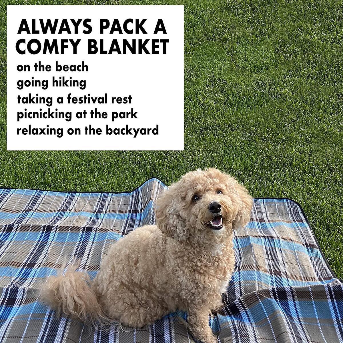 Beach Blanket Sand Proof, Water Proof Picnic Blanket. Large 59x59 Inch Padded Outdoor Blanket. Beach Mat, Camping Blanket, Park, Festival or Stadium Blanket. Waterproof, Sand Free