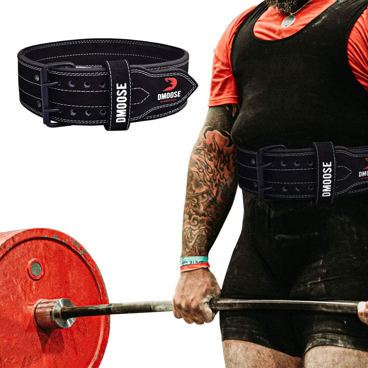 DMoose Powerlifting Buckle Genuine Leather Belts (10MM Black/White Stitch ONLY)