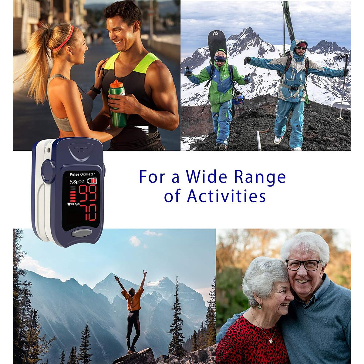 FRONT ARCH Pulse Oximeter Fingertip - Blood Oxygen Saturation Monitor, Oxygen Monitor Fingertip,Heart Rate and Fast SpO2 Reading Oxygen Meter for Sports,Fitness, Aviation