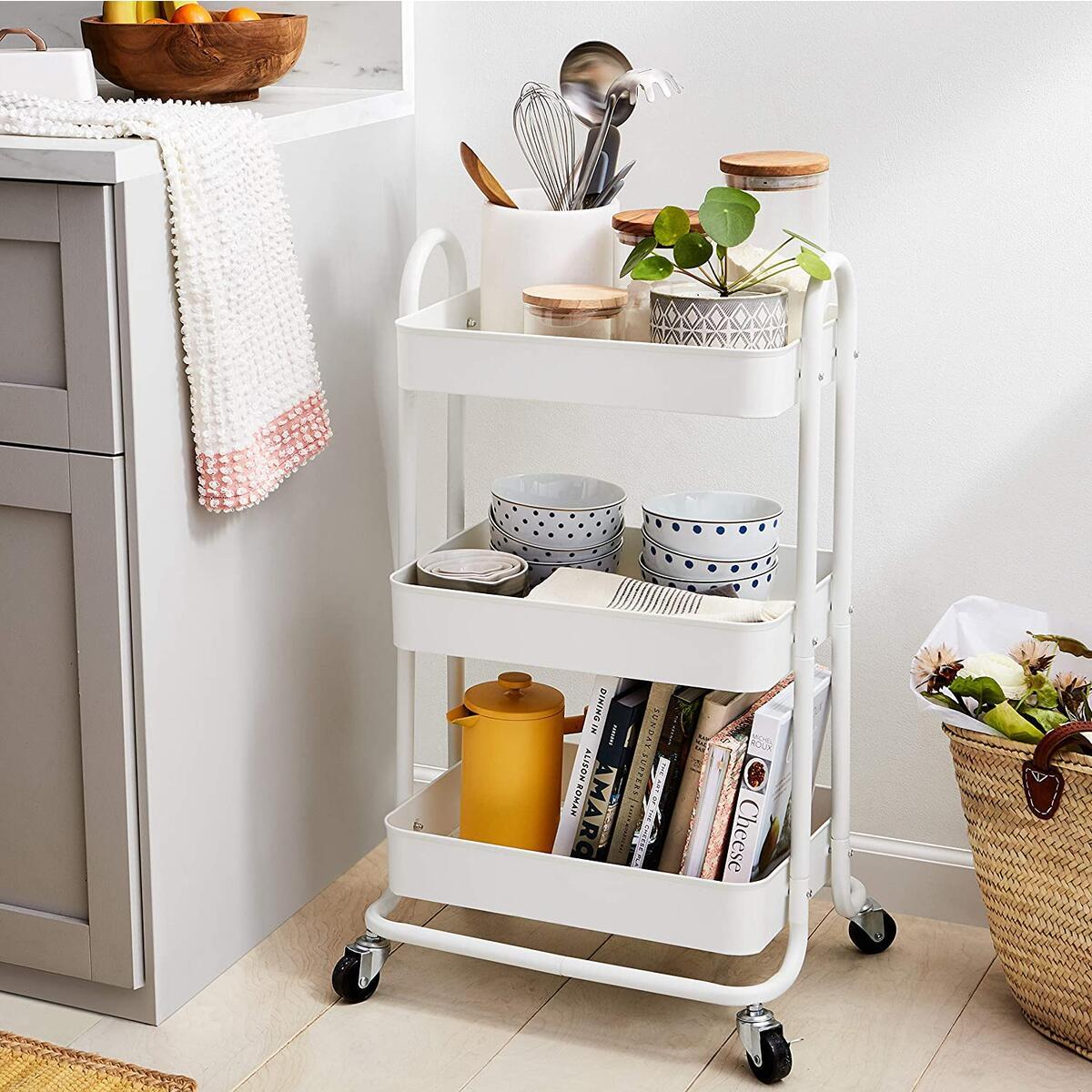 AmazonBasics 3-Tier Rolling Utility or Kitchen Cart - White