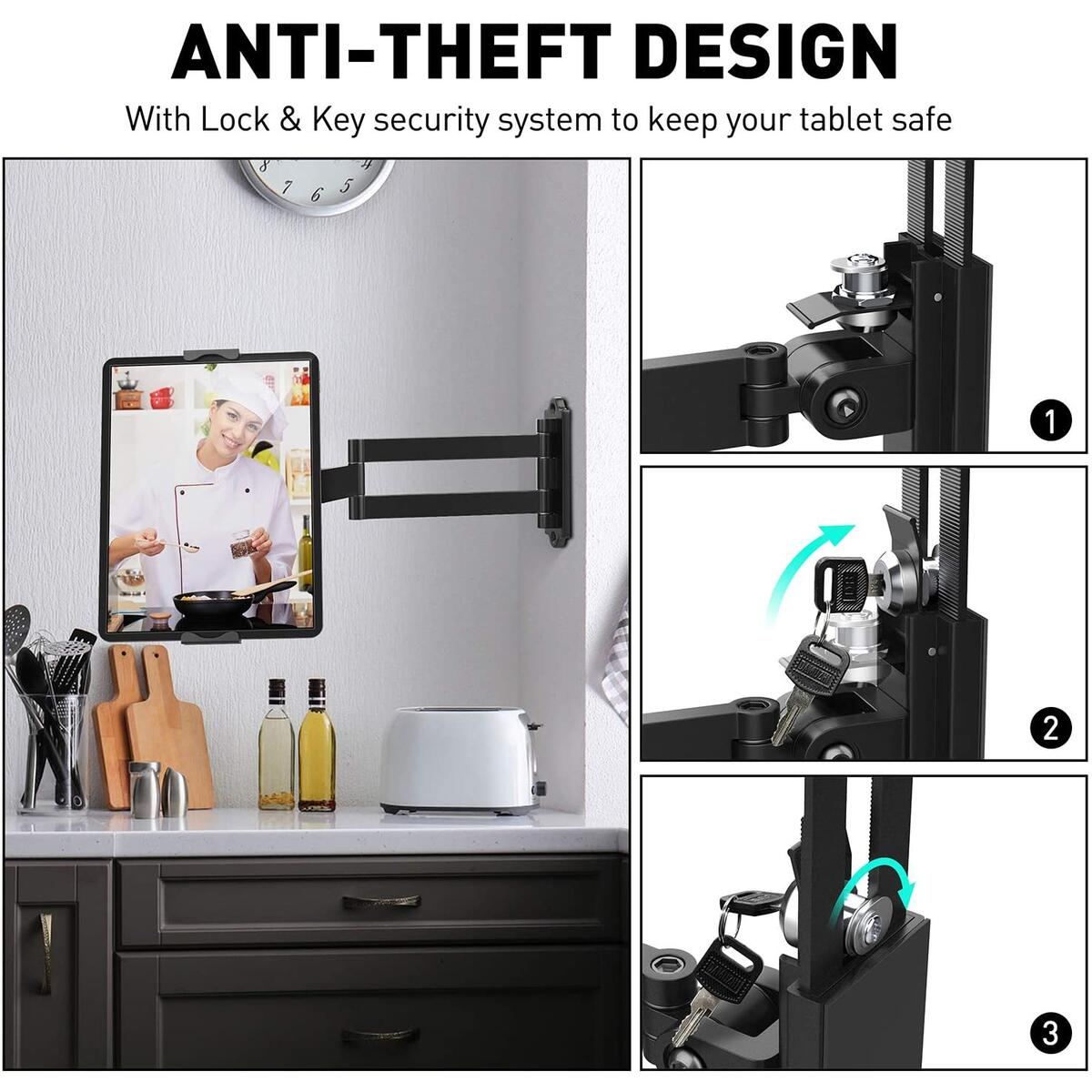 AboveTEK Tablet Wall Mount - Fits 7 to 11 Inch Tablets Including iPad, Galaxy Tab, Slate, Fire and More -Anti Theft Security Lock and Key - Adjustable Long Arm Articulating Swivel Holder