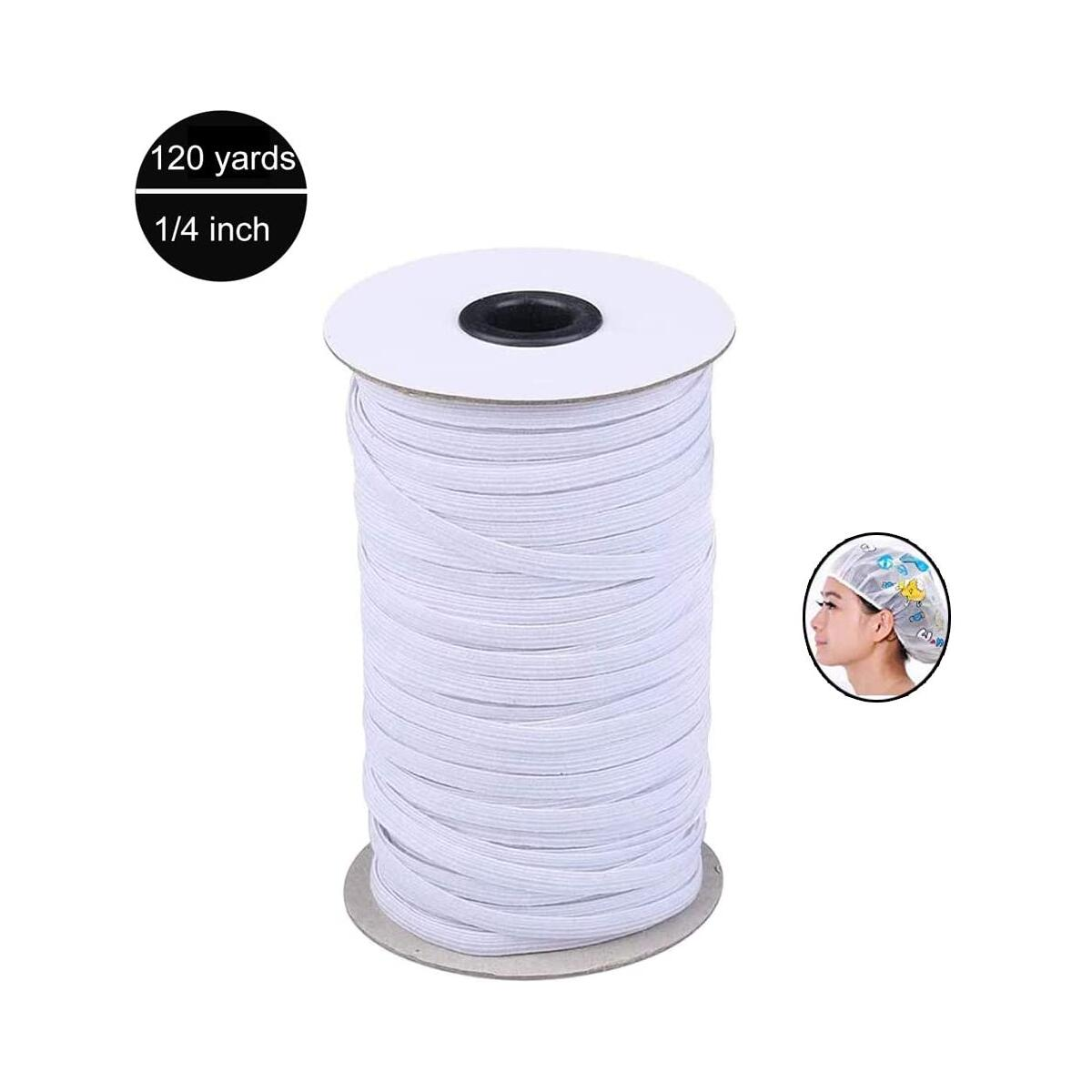 ILamourCar 120 Yards Elastic Cord, Elastic Loop Ear Rope Stretch Flat String Craft Project Bracelet String Trim for Crafting,Hanging -White