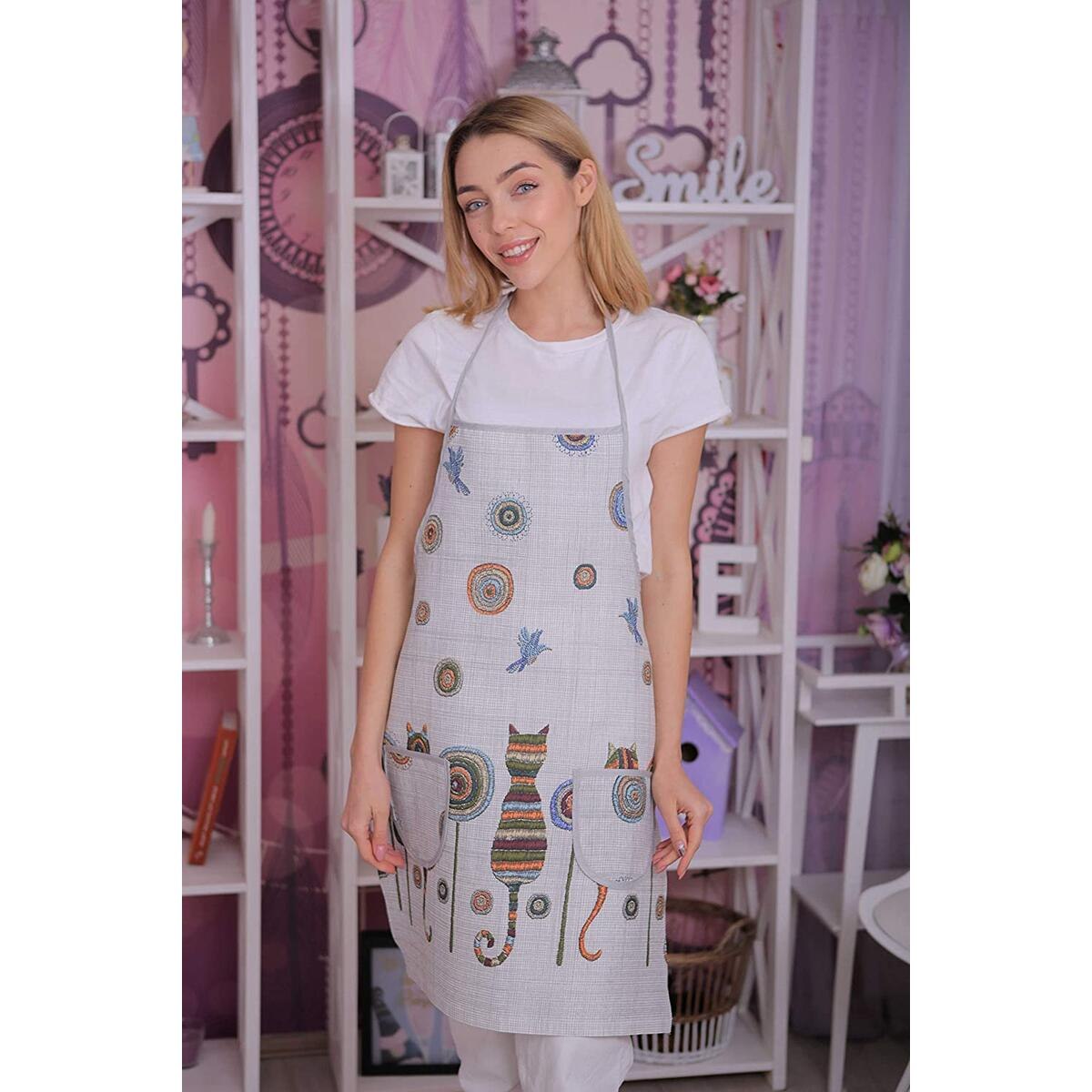 Cat Apron for Women with Pockets - Cute Kitchen Cotton Linnen Apron - Home Chef Cat Kitchen Accessories - Cooking Apron Embroidery Look