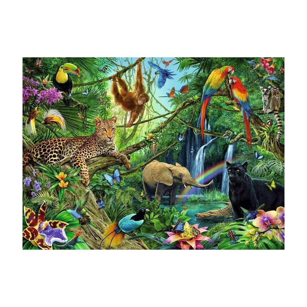 DIY 5D Square Full Drill Art, Diamond Painting Kits Adults Kids, Home Wall Decor, Perfect for Relaxation, Gift (Jungle, Animal Kingdom) by NUBIY