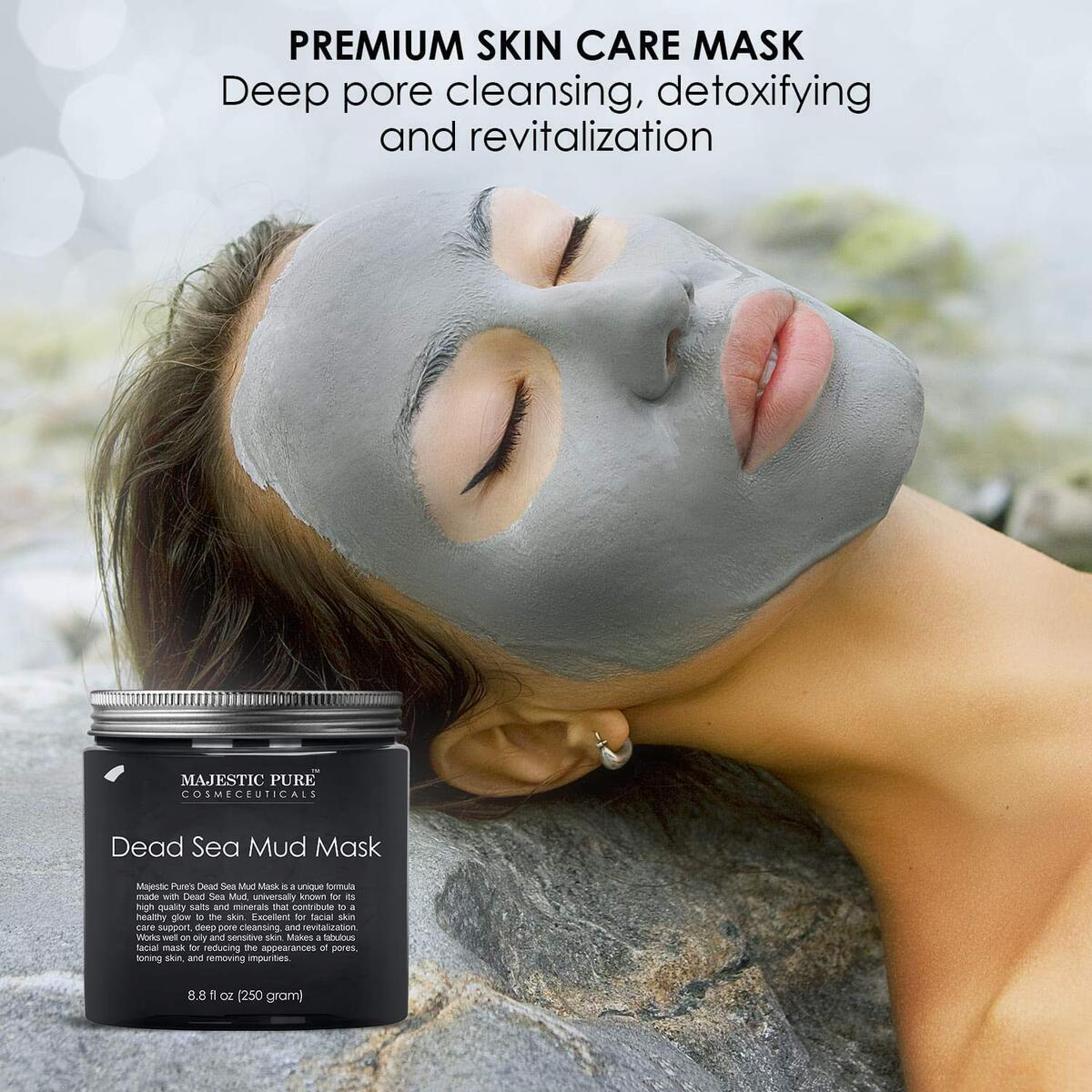 Dead Sea Mud Mask - Natural Face and Skin Care for Women and Men - Best Black Facial Cleansing Clay for Blackhead, Whitehead, Acne and Pores - 8.8 fl. Oz