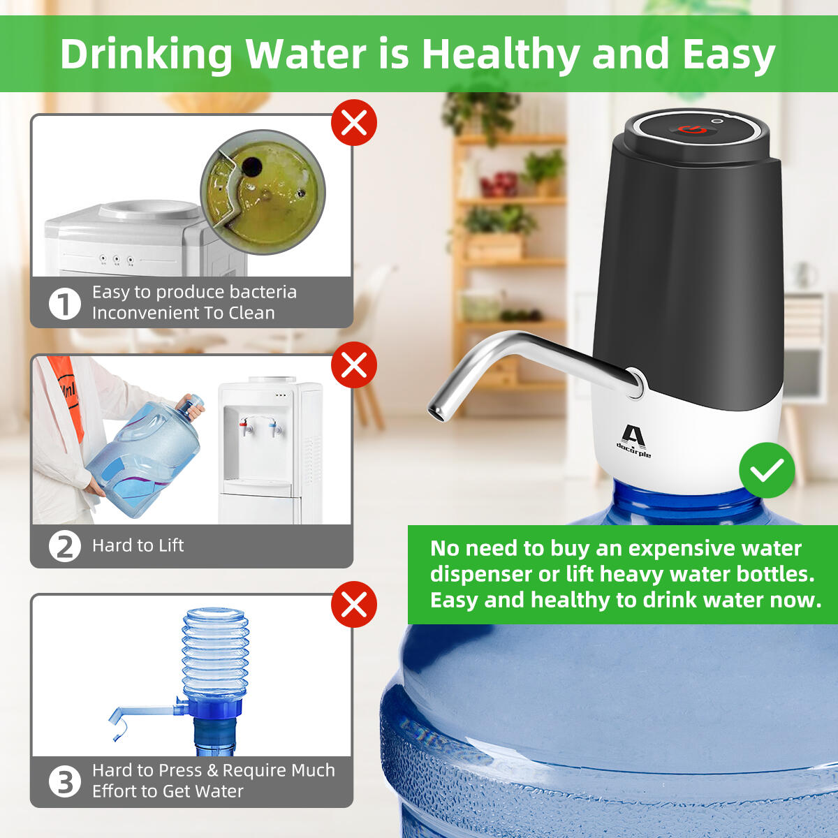 Water Bottle Pump 5 Gallon Water Bottle Dispenser Portable Electric Drinking Water Pump Universal USB Charging Automatic Water Jug Dispenser For 2-5 Gallon