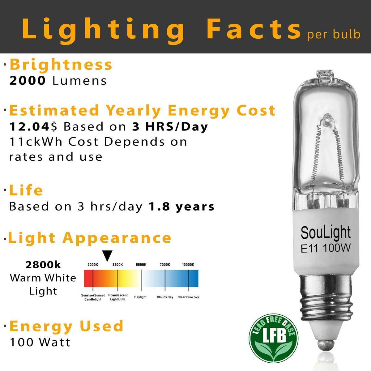 Halogen JDE11 120v 100W - Feit T4 E11 Mini-Candelabra Base Light Bulb - Warm White 2800K - Dimmable - Replacement Bulbs for Ceiling Fans, Chandeliers, Cabinet Lighting & More- 6 Pack