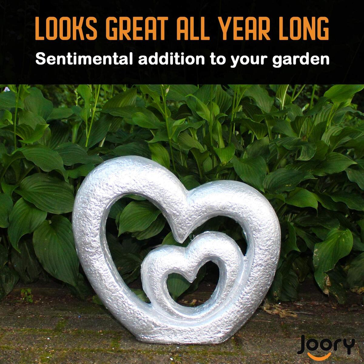"""JOORY Nesting Hearts Garden Sculpture – Cast Stone Garden Statue for Patio, Backyard and Outdoor Decor – Weather Resistant Lawn Ornament and Wedding Decoration (13.4"""" x 12.2"""" x 3.15"""")(Silver)"""