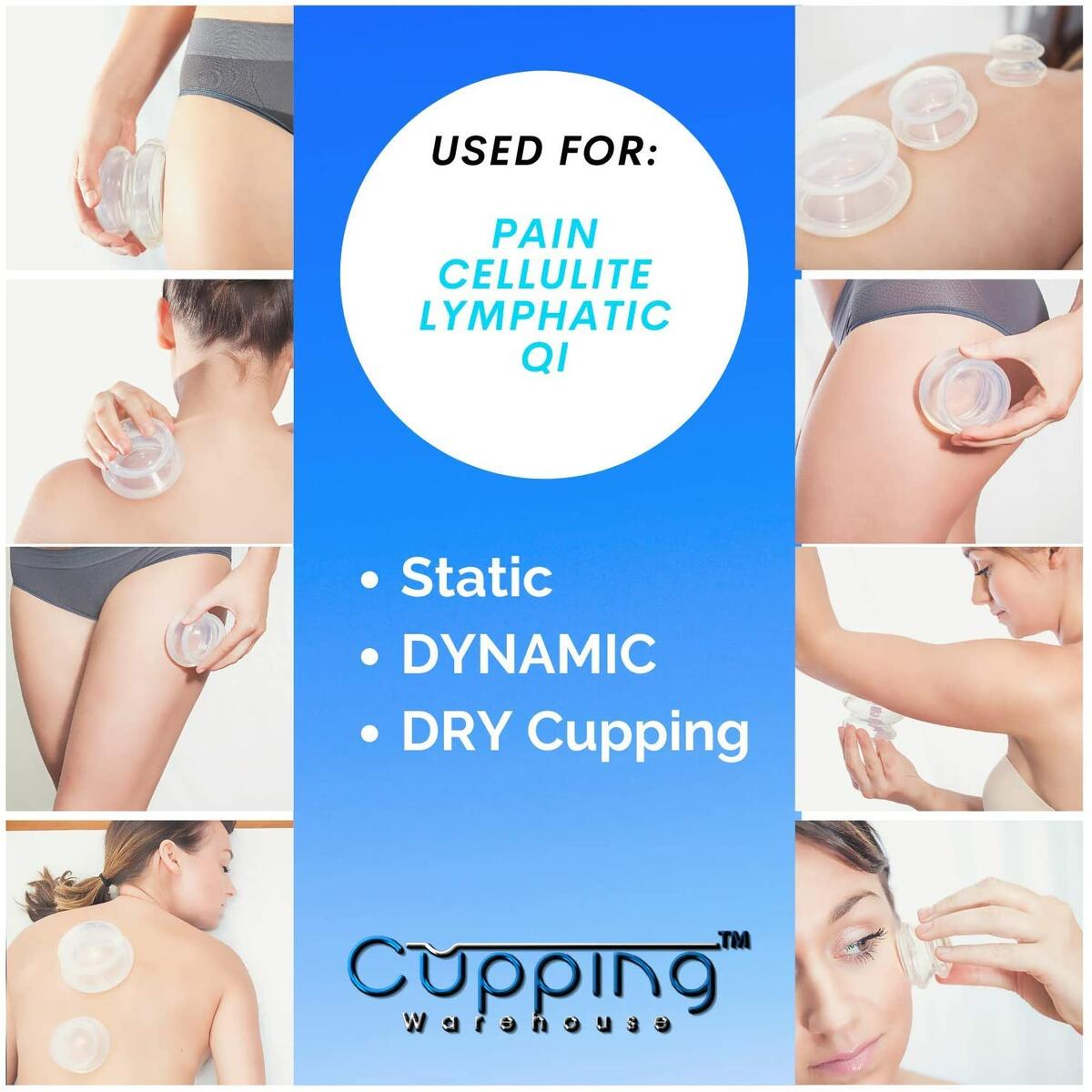 Cupping Warehouse Supreme 4 Intermediate PRO 5560 (4 Sizes) Soft Cupping Therapy Sets Professional Experienced and Self Care: Clear Chinese Silicone Massage Cups for Pain, Joints, Fascia, Cellulite
