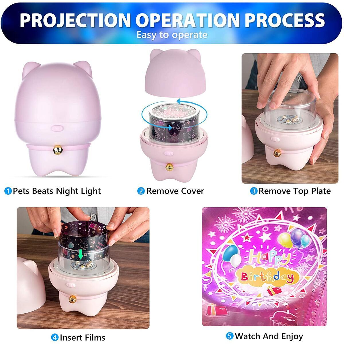 PETS BEATS Night Light Projector for Kids - 360 Rotating with 6 Interchangeable Projecting Films, Remote Control, USB - Kids Night Light with Bluetooth Speaker - Soothes Toddlers and Babies - Pink