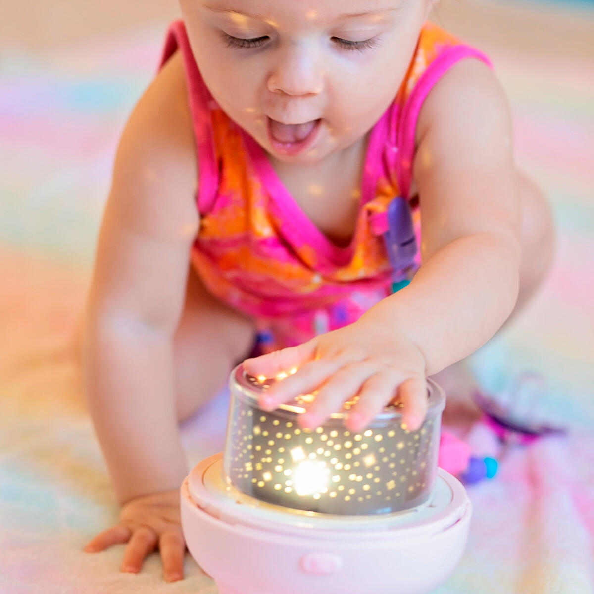 Ambient Light, Projector or Bluetooth Speaker for Kids 3 in 1 - Great Gift - Kids Night Light Projector for Bedroom with Remote Control - Bluetooth Music Speaker with Timer - Rotating Kids Lamp with 6 Films and USB - Pink