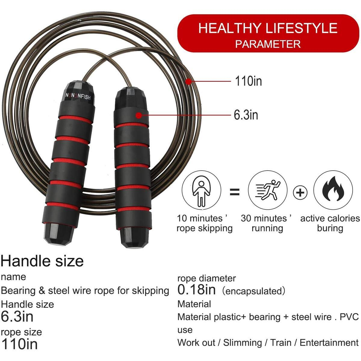 Nononfish Jump Rope Tangle-Free For Fitness Exercises with Ball Bearings Cable, Adjustable Skipping Rope Workout With Memory Foam Handles For Kids Women Men