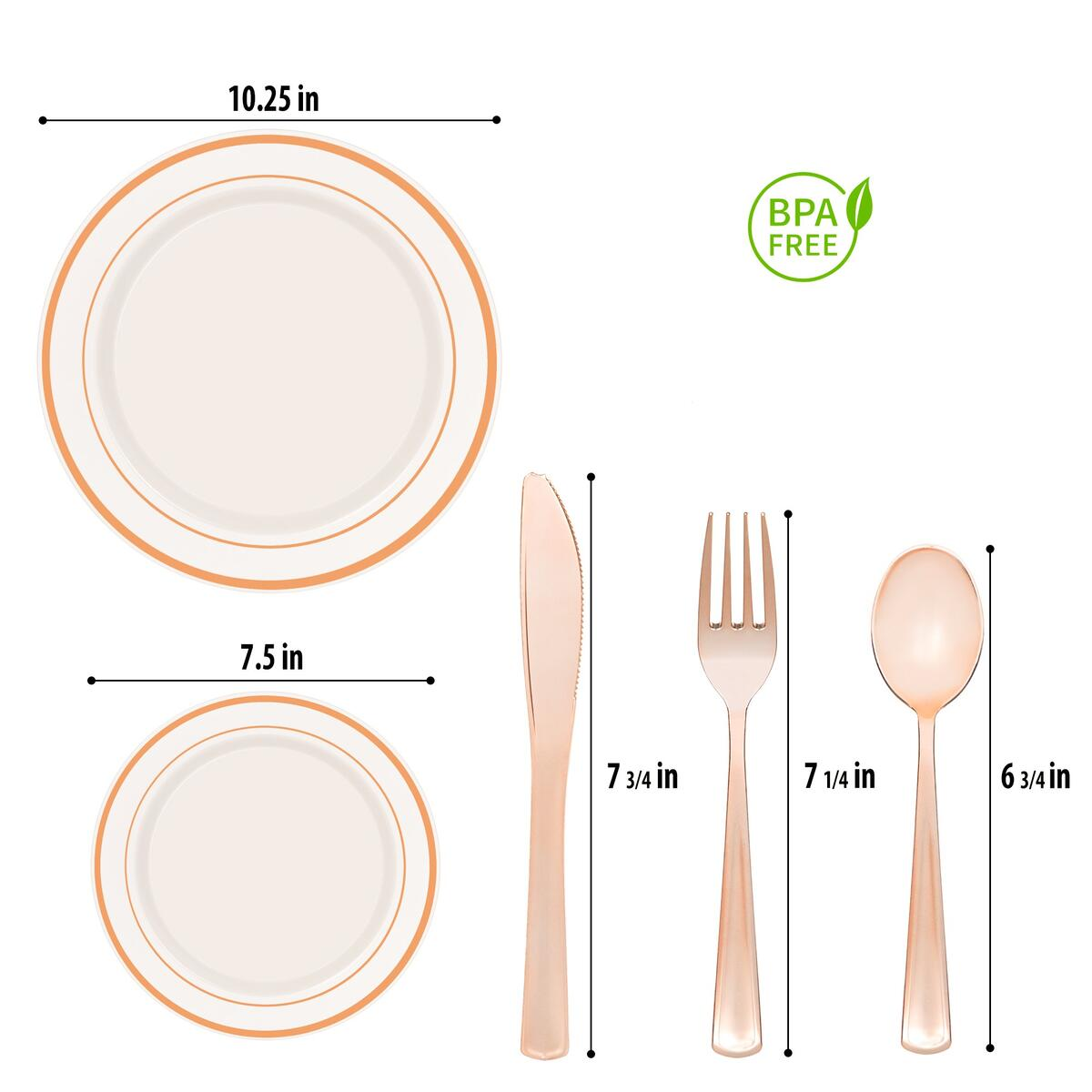 Elegant and Heavy Duty  Rose Gold Plastic Dinnerware - 130 Piece Set