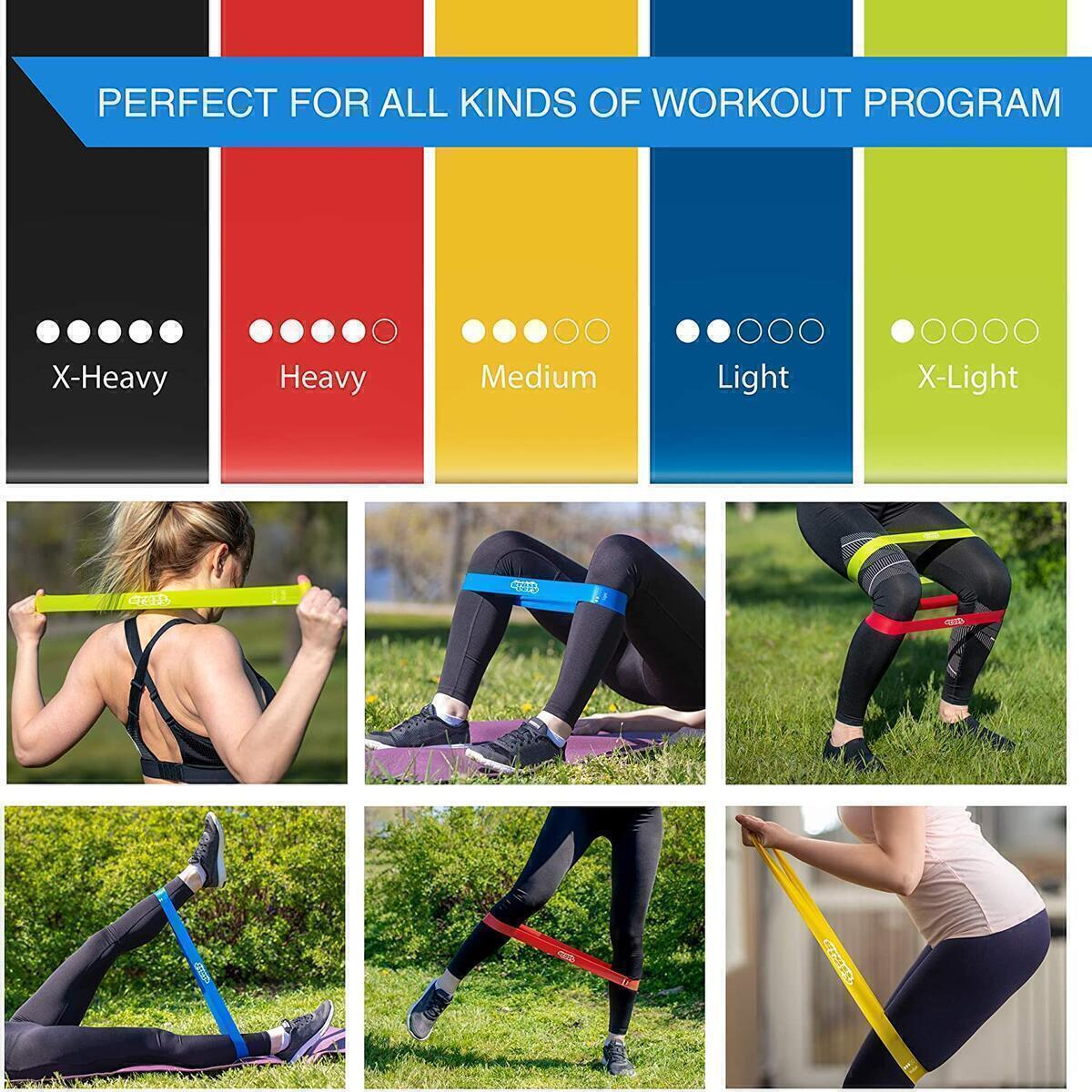 GRASSVERY Rubber Resistance Loop Bands for Home Fitness, Leg & Butt Exercise, Stretching and Strength Training – Resistance Natural Latex Workout Bands for Booty Workout, Strengthening Muscle
