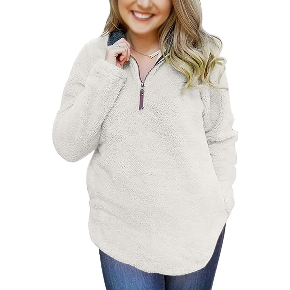 Women's Zipper Sherpa Pullover Soft Fuzzy Fleece Sweatshirt Jacket Sweater Winter Coat