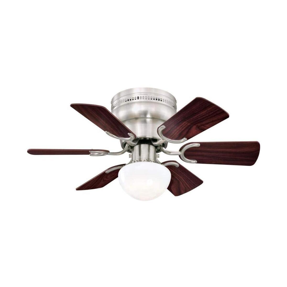 30-Inch Indoor Ceiling Fan in Brushed Nickel Finish with Dimmable LED Light Fixture in Opal Mushroom Glass with Reversible Rosewood/Light Maple Blades