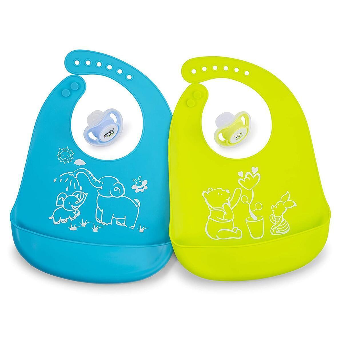 Johee's World Baby Bib and Pacifier Set - 2 Silicone Bibs for Babies + 2 Soothing Teething Pacifiers for Newborns Infants Toddlers Feeding Time Eating Cute Modern Prints for Girls Boys (0-24 Months)