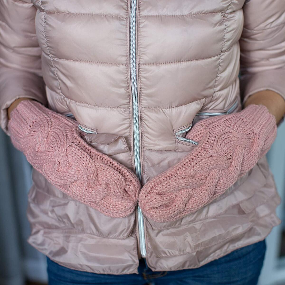 Mittens for Women Soft and Cozy for Cold Weather Wool Knit Womans Winter Mittens Warm Gloves (Pink)…