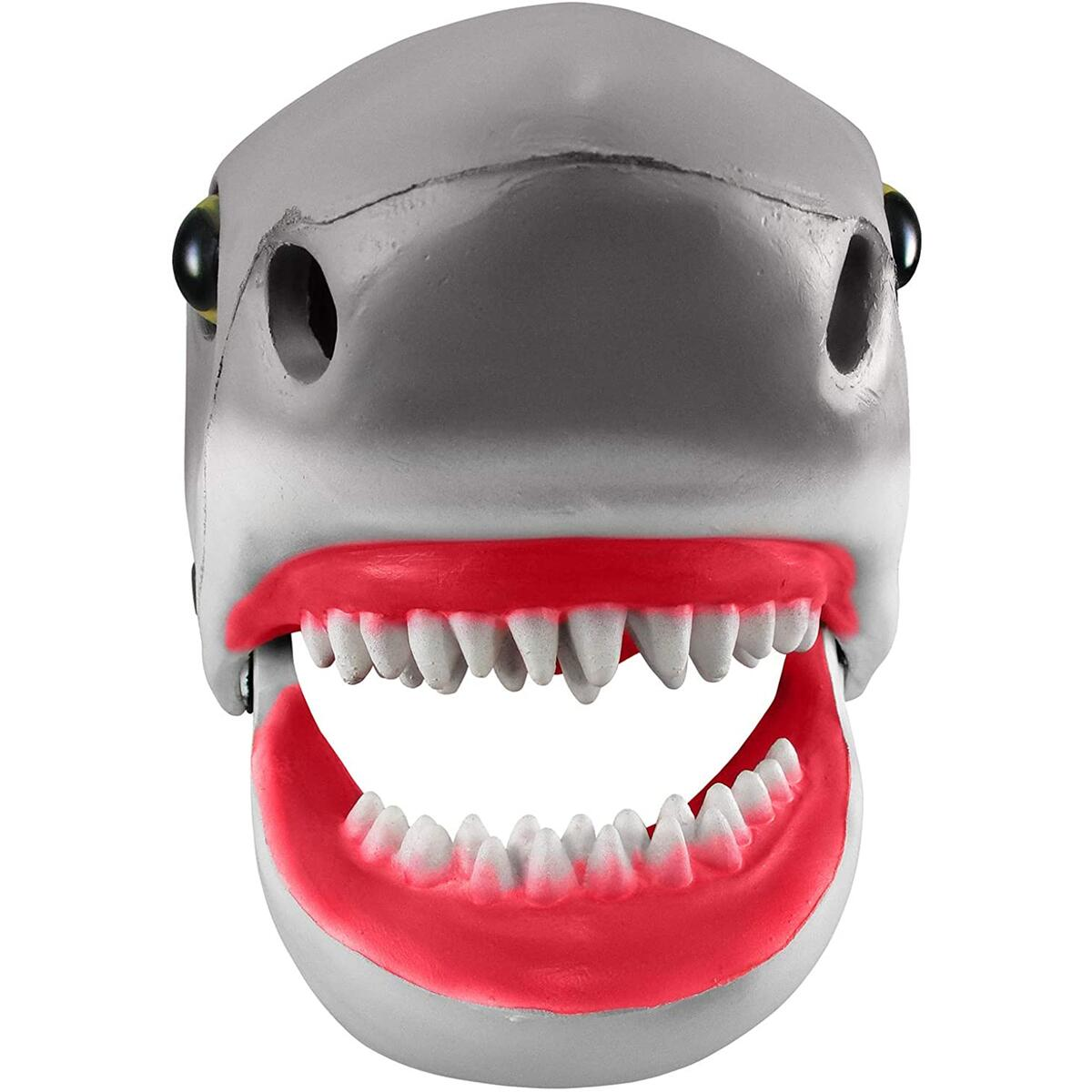 Shark Mask - Shark Head Moving Mouth Mask - Shark Halloween Mascot Animal Costume Accessory - Gray, Adjustable
