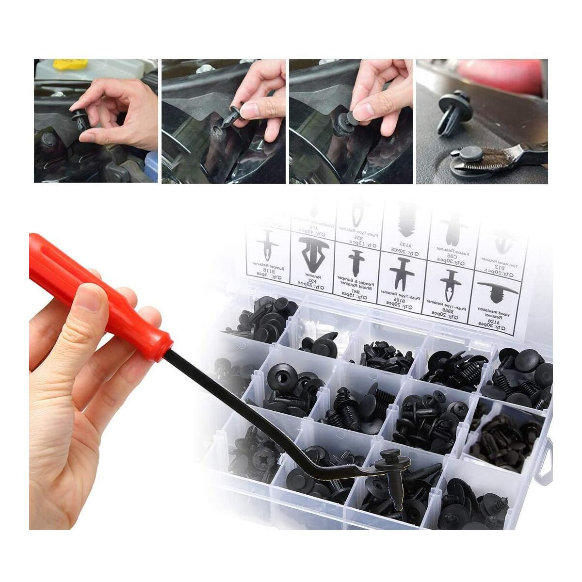 KCRTEK 255pcs Car Retainer Clips,Plastic Push Rivets auto Parts & Accessories with 12 Sizes for Toyota,GM,Ford,Honda,Acura,Chrysle