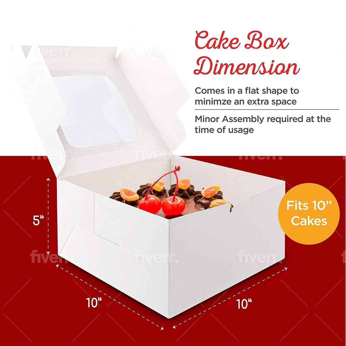 Q- Jumper Cake Boxes with Round Shape Cake Boards and Ribbons Set, Paperboard Cake Baker Box, Cake Box with Window, Pack of Ten, 10 x 10 x 5 Inches (White and Red)