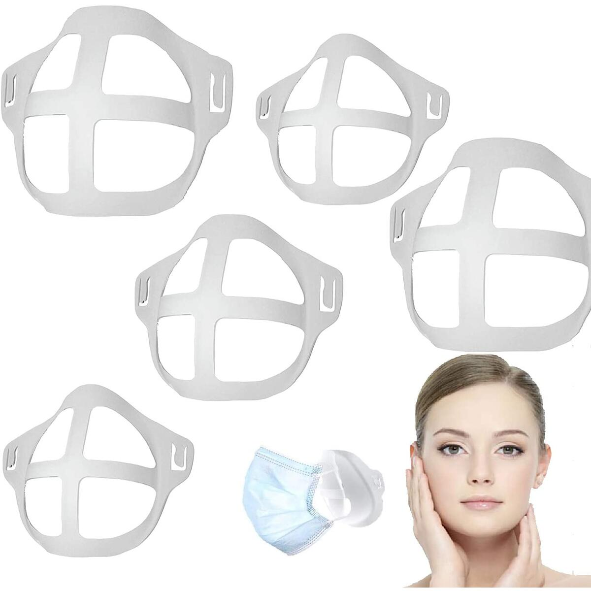 5Pcs Of Face Mask Accessories | Plastic Bracket | More Space For Comfortable Breathing Protect Lipstick | Washable & Reusable