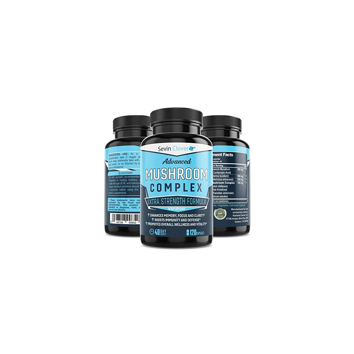 Mushroom Supplement Lions Mane Cordyceps - Organic Comprehensive Support for a Robust and Resilient Immune System | Mushroom Nootropic Brain Booster Complex for Energy and Focus - 120 Capsules 1600mg